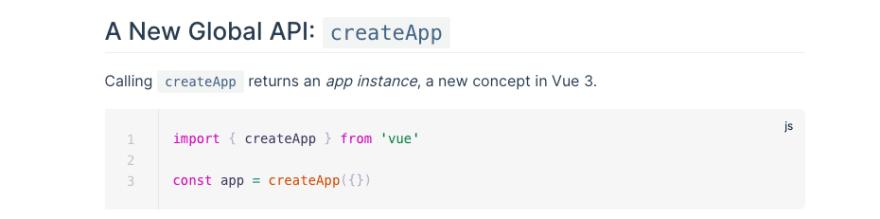 Vue.js new Global API `createApp`