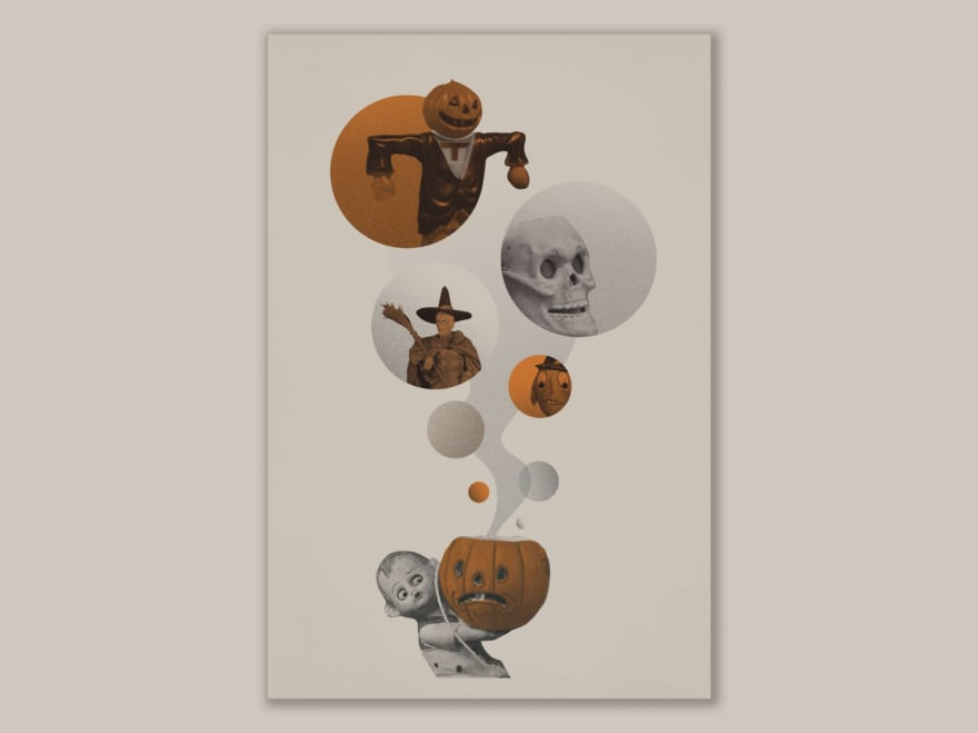 image of vintage retro design of spooky skeletons and pumpkin art deco collage