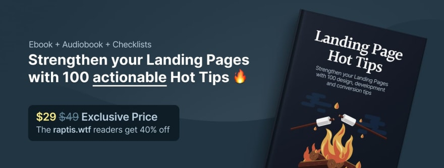 Promo banner for the Landing page tips ebook