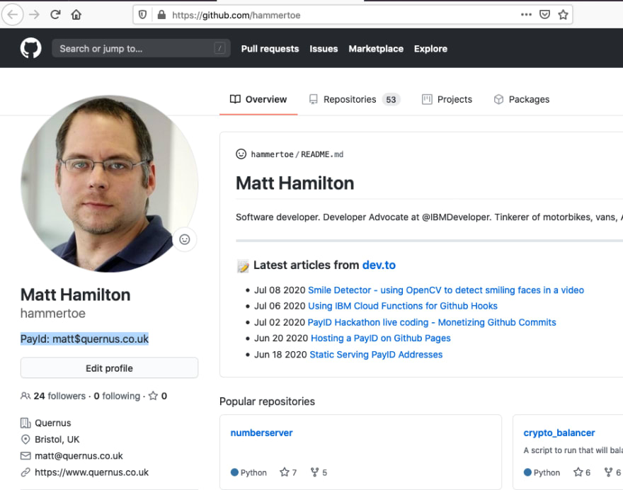 Put your PayID in your Github bio
