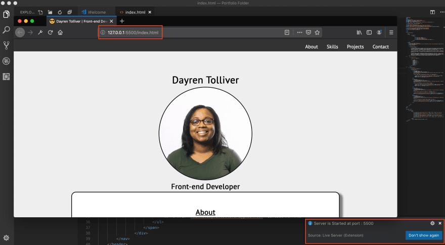 Screenshot of open Live Server