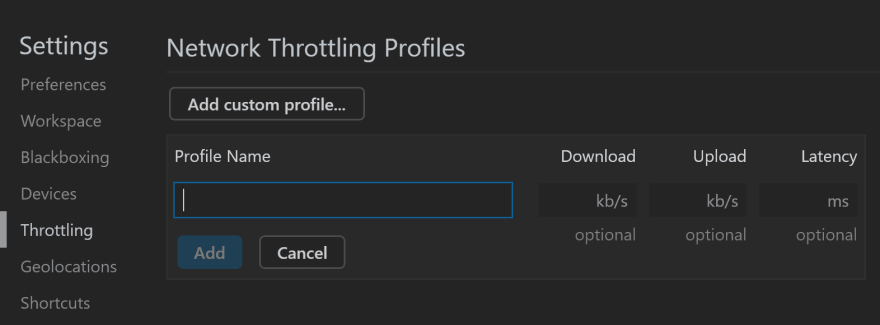 Adding a custom throttling profile