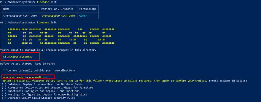 firebase init command<br>