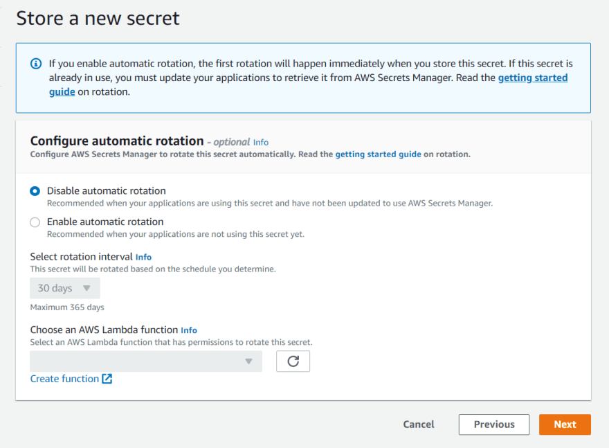 AWS SecretsManager default settings