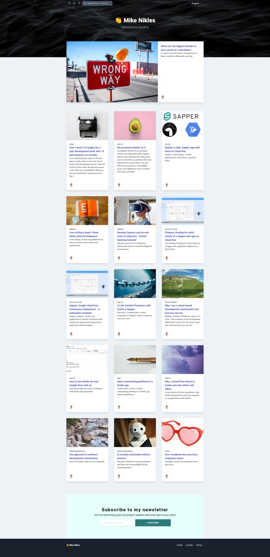 v2 homepage with blog post thumbnails
