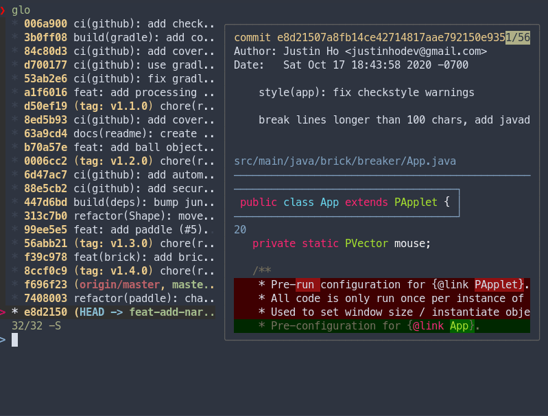 Forgit has a custom git-log output to navigate between commits and shows the files changed