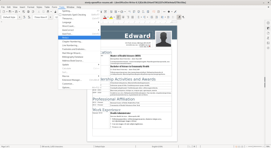 Redaction Command in Tools Menu of LibreOffice 6.3