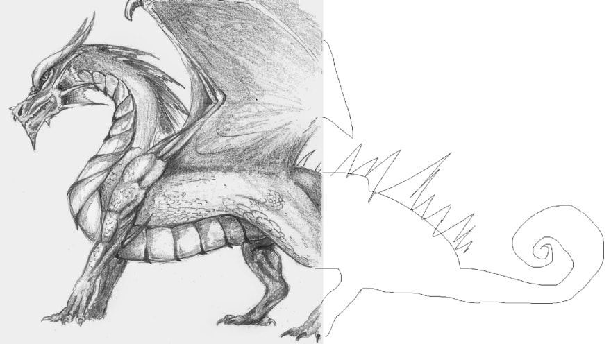 well-drawn dragon on left, badly drawn dragon on right