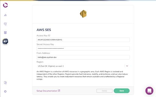 Courier Integration - AWS SES