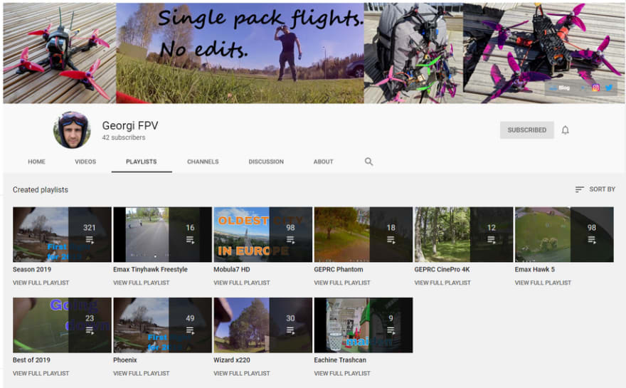 Georgi FPV YouTube channel video playlists