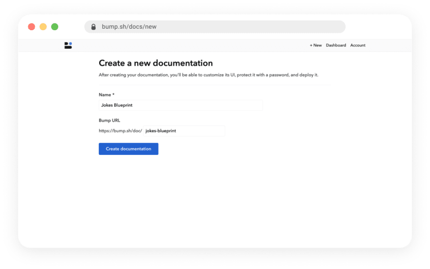Bump new documentation screen
