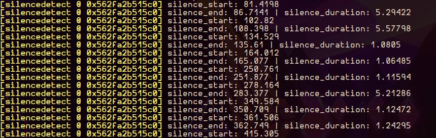 Silencedetect Example Output