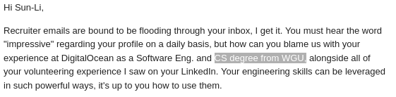 An email I got from a recruiter