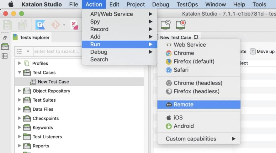 screenshot run katalon on testingbot