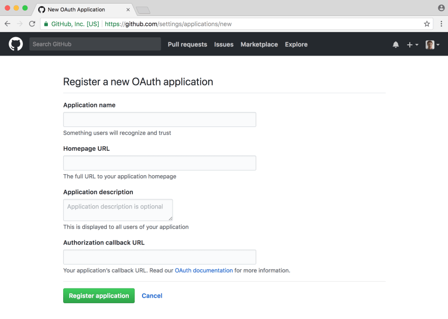 Github OAuth page