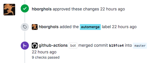 Alt screenshot of GitHub merging the pull request