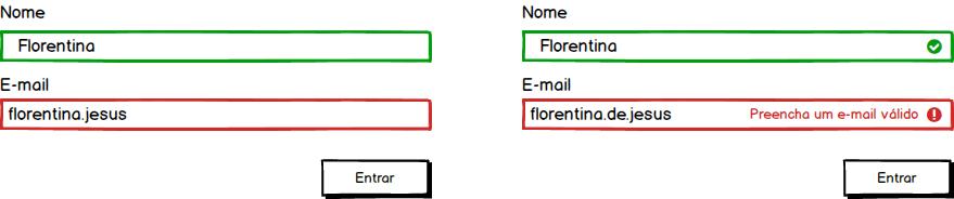 Validação de formulário apenas com cores VS Validação de formulário com cores, rótulos e ícones