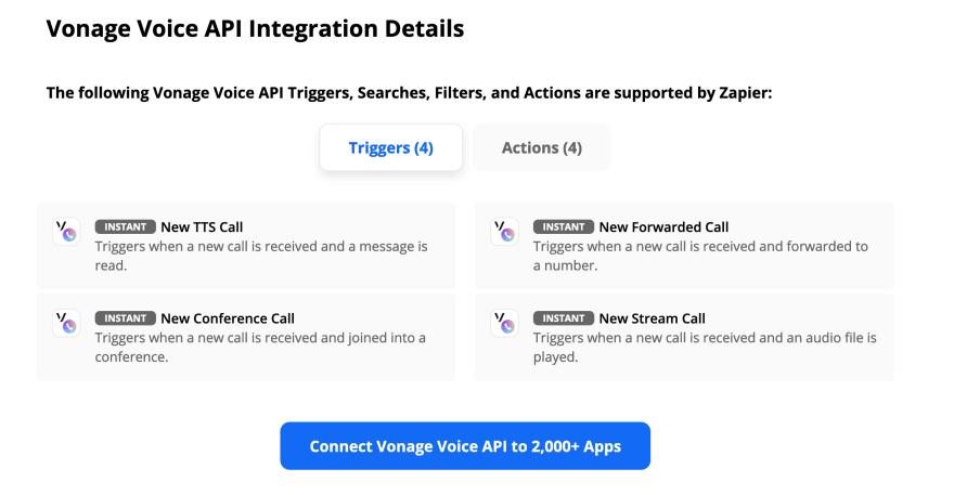 Screenshot featuring the Vonage Voice API triggers in Zapier