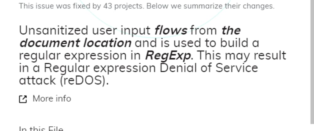 Cover image for DeepCode's Top Findings#5: JavaScript Unsanitized Input is used to build RegEx