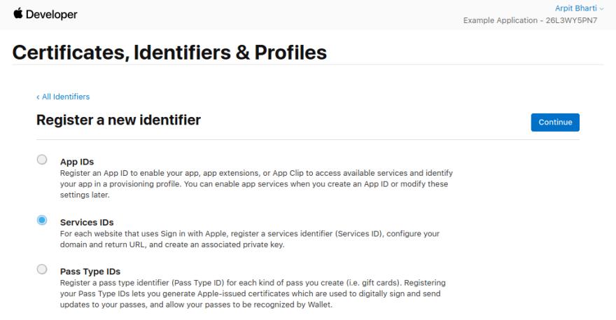 New ID Service ID