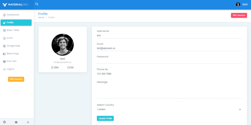 Material Dashboard - Flask, User profile page.