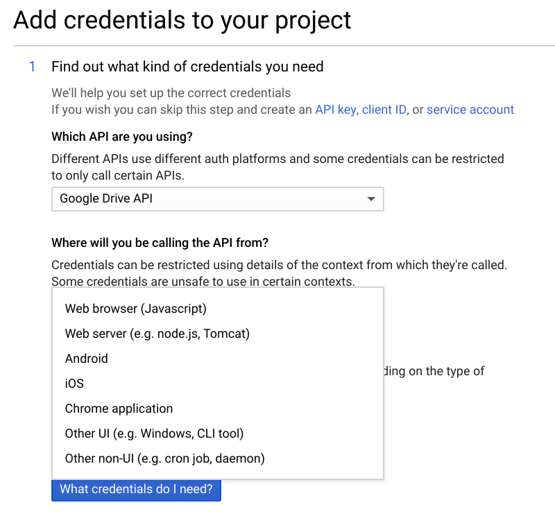 Screenshot of Google API credentials setup wizard