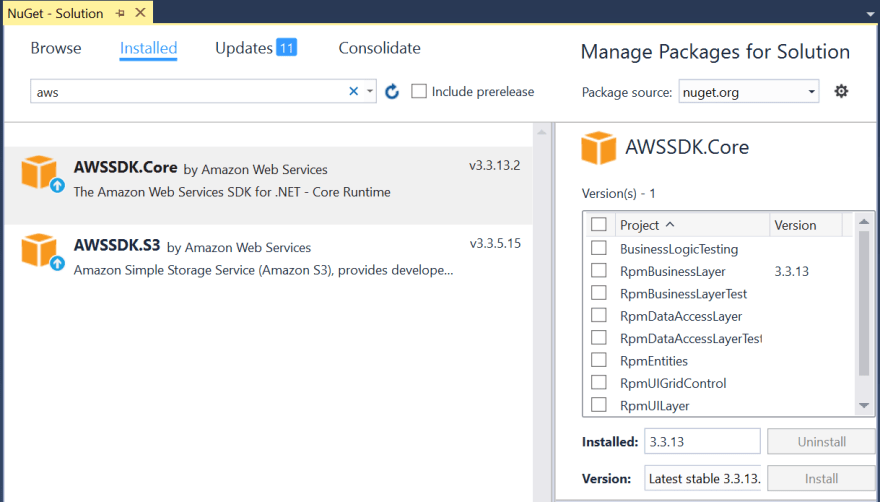 AWS Packages in VS