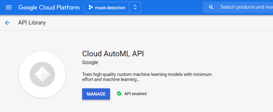 Cloud AutoML API enabled<br>