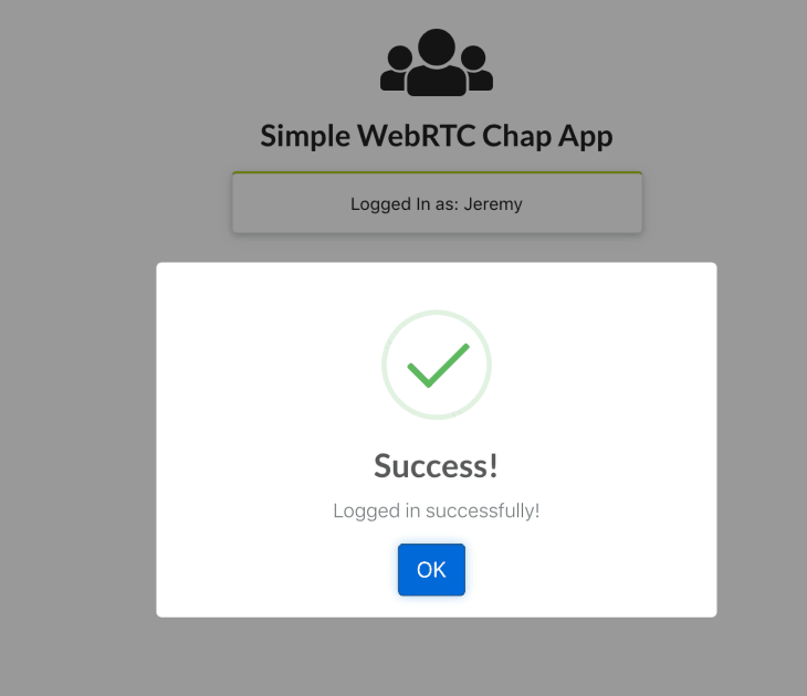 An example of a successful login on a simple WebRTC chat app