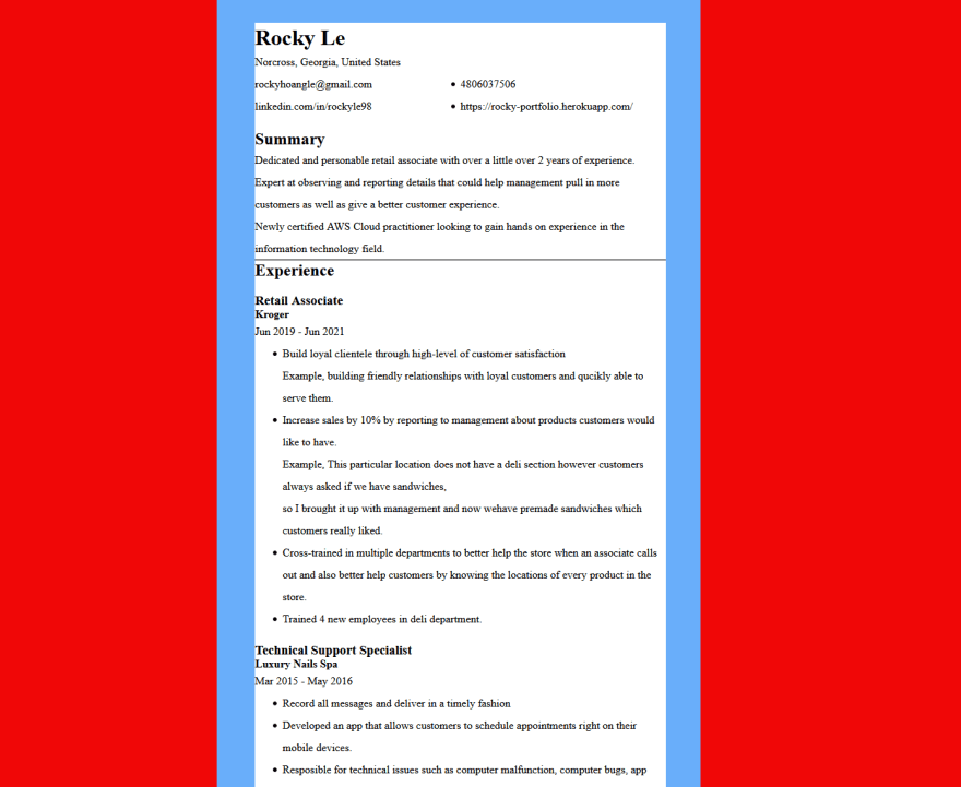 First version of my resume webpage