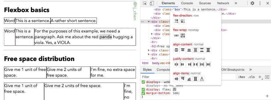 Chrome's Flexbox inspector displaying all flex-related and alignment options
