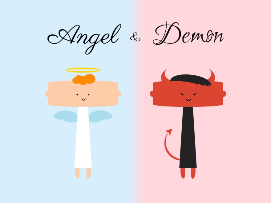 Cartoon of an angel and a demon