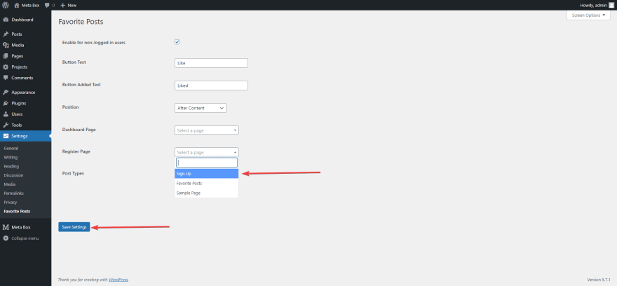 create a Register page on the WordPress website
