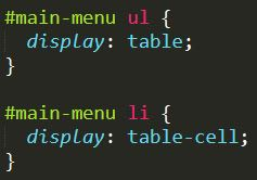 css code with display table prperty
