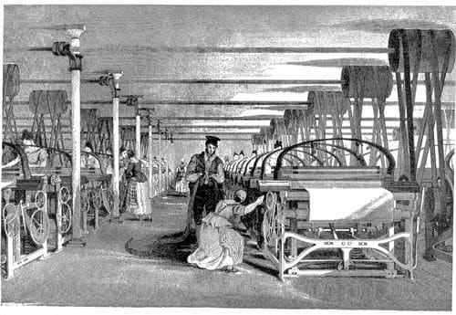 A Robert's Loom in a weaving shed in 1835