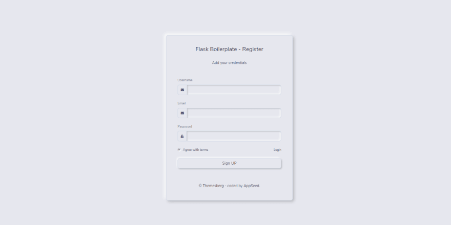 Neumorphism UI - Flask version, the registration page.