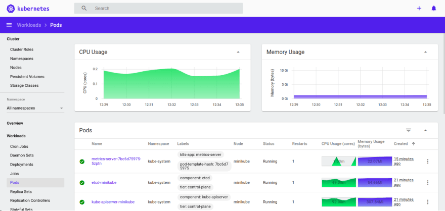 Minikube dashboard for CPU and Memory usage for entire cluster