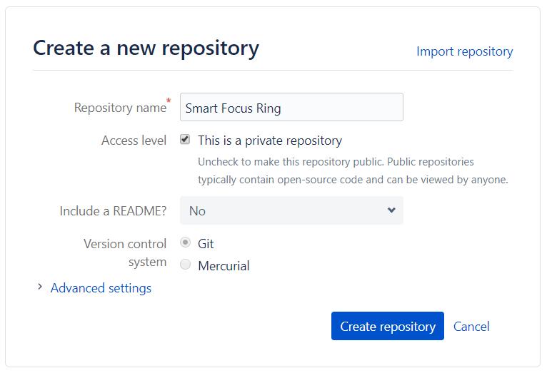 Bitbucket's Create New Repo Screen