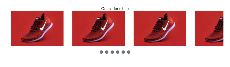 A screenshot of an image gallery of identical red shoes, with gray dots below