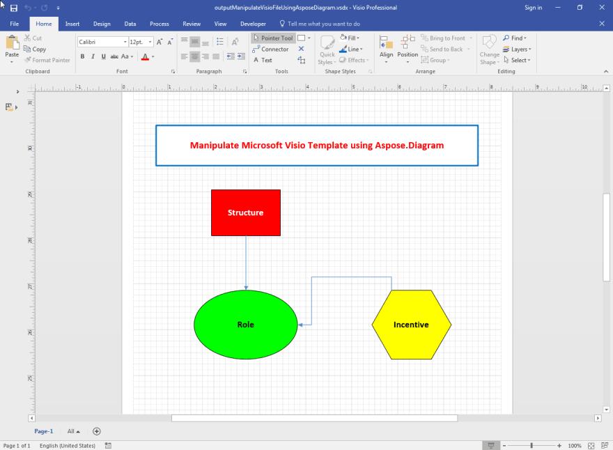 Output Microsoft Visio file generated using Aspose.Diagram.