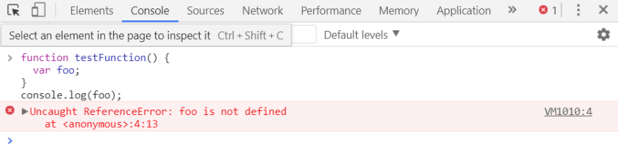Screenshot of ReferenceError: event is not defined