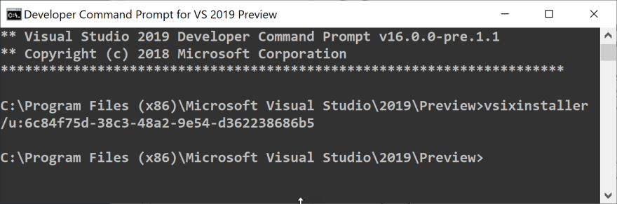 Uninstall Visual Studio extension from the command line