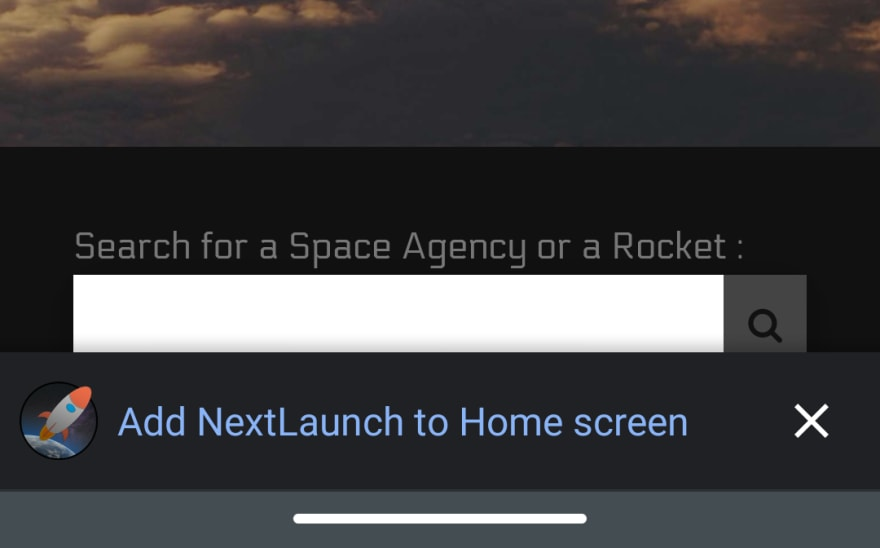 Screenshot to show how Add to Homescreen Banner looks in Chrome