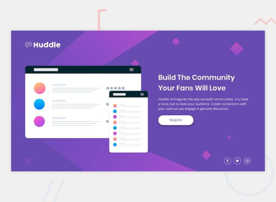 Design preview for the Huddle landing page with a single introductory section challenge