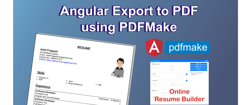 Cover image for Angular Export to PDF using PDFMake (Client-Side PDF Generation)