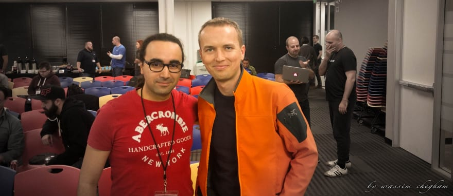 A portrait picture of Igor Minar and me, and some other amazing Googlers and GDEs in the background.