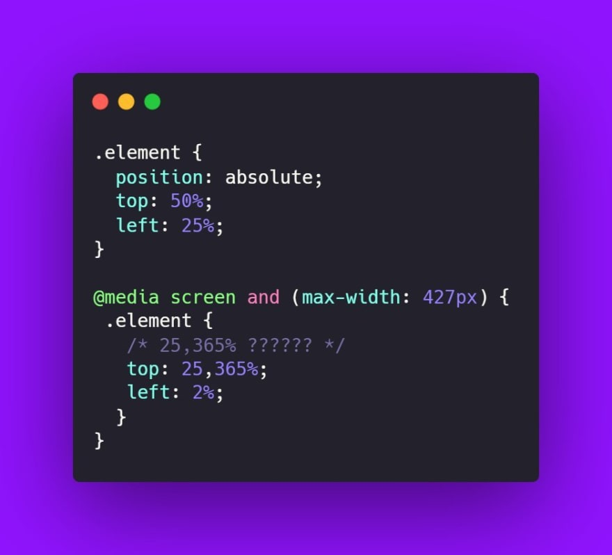 Elementos posicionados dentro de media queries com valores de posição decimais malucos