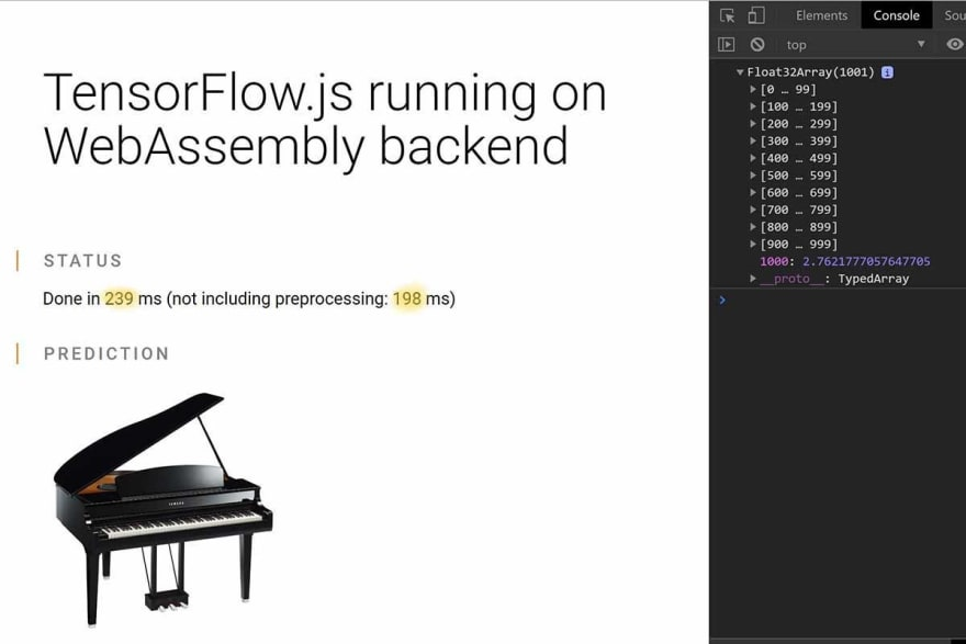Tensorflow.js running on WebAssembly backend to detect an object in an image