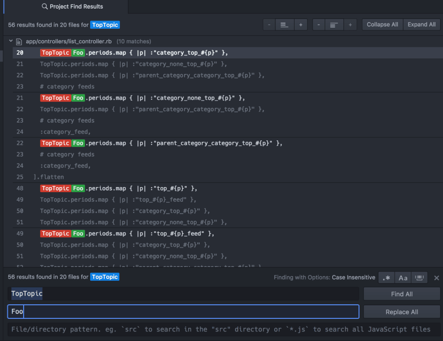 Project search in Atom