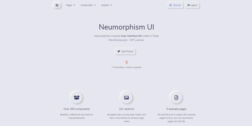 Neumorphism UI - Flask version, Hero Section.